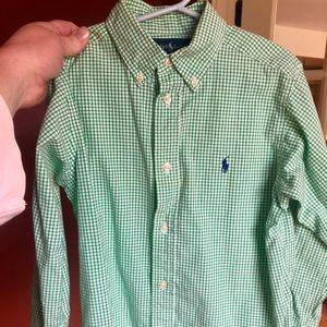 Ralph Lauren- size 6 Boys green plaid button down
